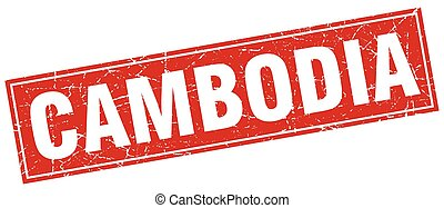 Cambodia red square grunge vintage isolated stamp