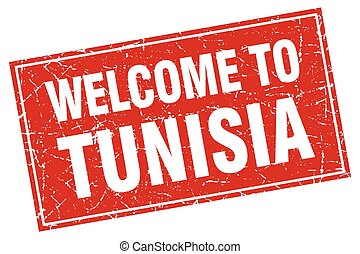 Tunisia red square grunge welcome to stamp