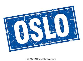Oslo blue square grunge vintage isolated stamp