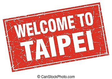 Taipei red square grunge welcome to stamp