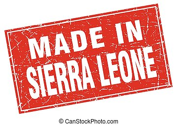 Sierra Leone red square grunge made in stamp