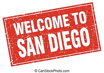 San Diego red square grunge welcome to stamp