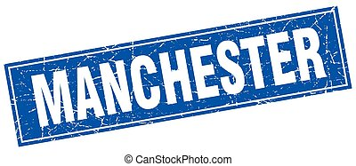Manchester blue square grunge vintage isolated stamp