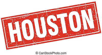 Houston red square grunge vintage isolated stamp