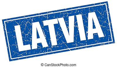 Latvia blue square grunge vintage isolated stamp