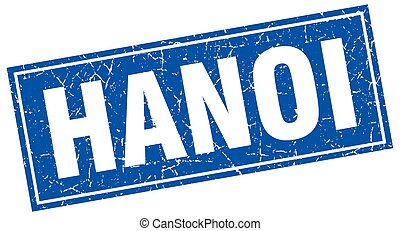Hanoi blue square grunge vintage isolated stamp
