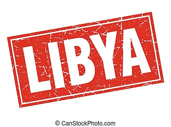 Libya red square grunge vintage isolated stamp