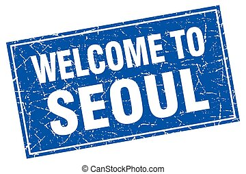 Seoul blue square grunge welcome to stamp