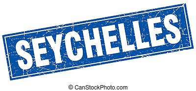Seychelles blue square grunge vintage isolated stamp