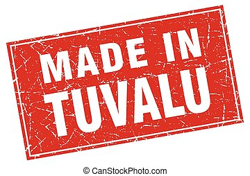 Tuvalu red square grunge made in stamp