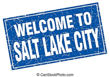 Salt Lake City blue square grunge welcome to stamp