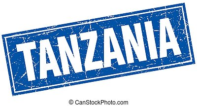 Tanzania blue square grunge vintage isolated stamp
