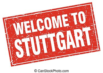 Stuttgart red square grunge welcome to stamp