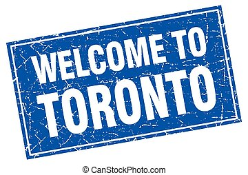 Toronto blue square grunge welcome to stamp
