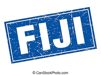 Fiji blue square grunge vintage isolated stamp
