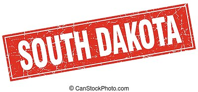 South Dakota red square grunge vintage isolated stamp