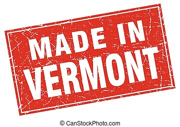 Vermont red square grunge made in stamp