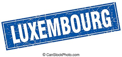 Luxembourg blue square grunge vintage isolated stamp