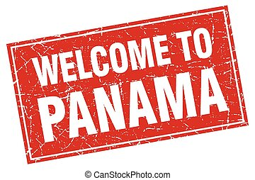 Panama red square grunge welcome to stamp