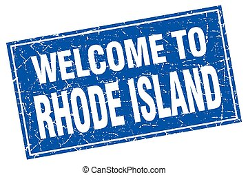 Rhode Island blue square grunge welcome to stamp