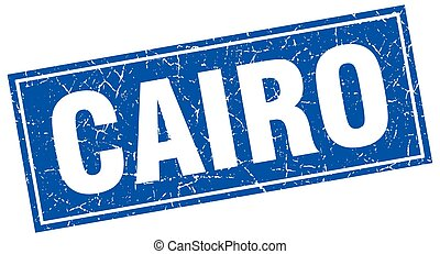 Cairo blue square grunge vintage isolated stamp