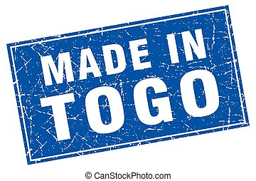 Togo blue square grunge made in stamp