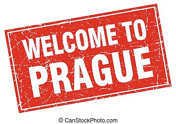 Prague red square grunge welcome to stamp