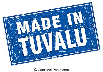 Tuvalu blue square grunge made in stamp