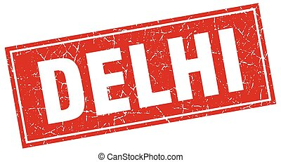 Delhi red square grunge vintage isolated stamp