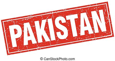 Pakistan red square grunge vintage isolated stamp