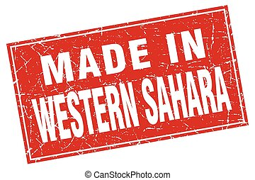 Western Sahara red square grunge made in stamp