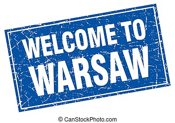 Warsaw blue square grunge welcome to stamp