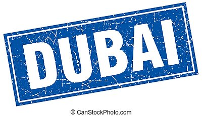 Dubai blue square grunge vintage isolated stamp