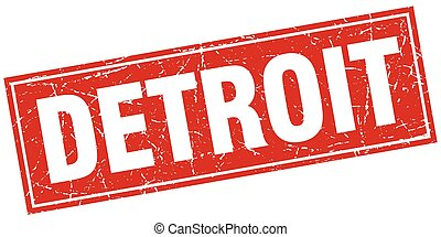 Detroit red square grunge vintage isolated stamp