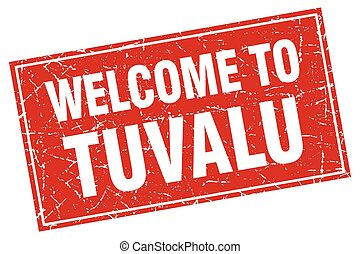 Tuvalu red square grunge welcome to stamp