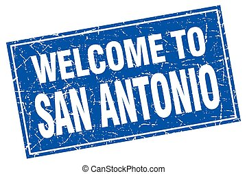 San Antonio blue square grunge welcome to stamp