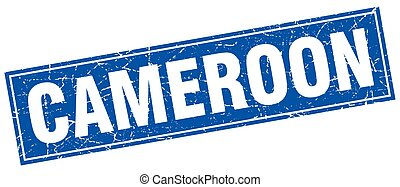 Cameroon blue square grunge vintage isolated stamp