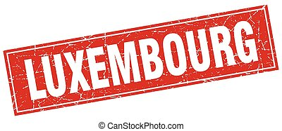 Luxembourg red square grunge vintage isolated stamp