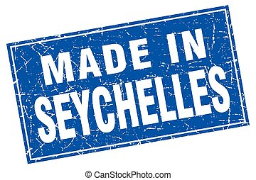 Seychelles blue square grunge made in stamp