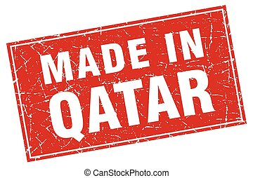 Qatar red square grunge made in stamp
