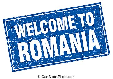 Romania blue square grunge welcome to stamp