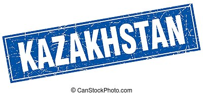 Kazakhstan blue square grunge vintage isolated stamp