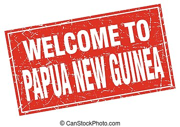 Papua New Guinea red square grunge welcome to stamp