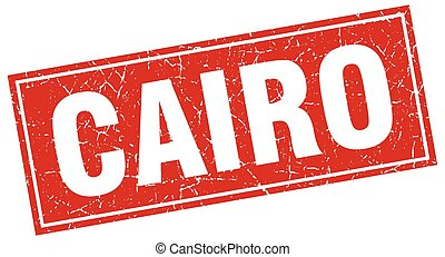 Cairo red square grunge vintage isolated stamp
