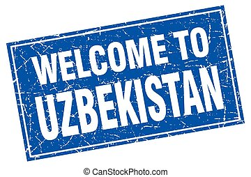 Uzbekistan blue square grunge welcome to stamp