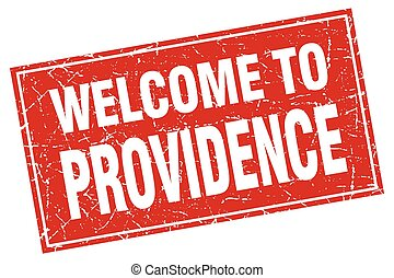 Providence red square grunge welcome to stamp