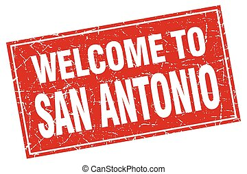 San Antonio red square grunge welcome to stamp