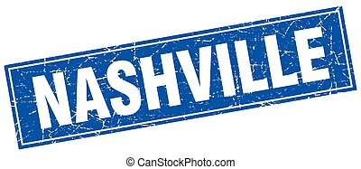 Nashville blue square grunge vintage isolated stamp