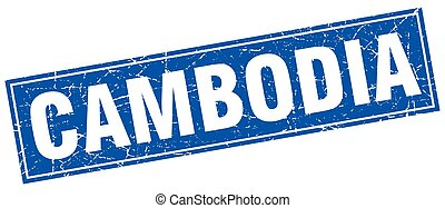 Cambodia blue square grunge vintage isolated stamp