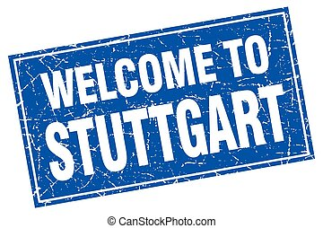 Stuttgart blue square grunge welcome to stamp